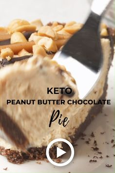 Keto Peanut Butter Chocolate Pie by I Breathe Im Hungry If chocolate and peanut butter is a combination that makes your heart and stomach flip youre going to love this cr. Desserts Keto, Keto Snacks, Dessert Recipes, Pancake Recipes, Lunch Recipes, Smoothie Recipes, Salad Recipes, Dinner Recipes, Keto Postres