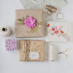 Pretty paper flowers and brown twine