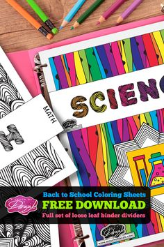 FREE Download! Back To School - Color-Your-Own Binder Divider Tabs! Yes, fabulous artist designed coloring pages with hours of mesmerizing fun is free for your download!  SHARE it with your friends! Everyone will have a blast, coloring away and Mom gets to save money on school supplies - YAY!  DIY for girls and boys orgnization planner kids template for the office black and white cards crafts geometric artwork patterns stencils prints
