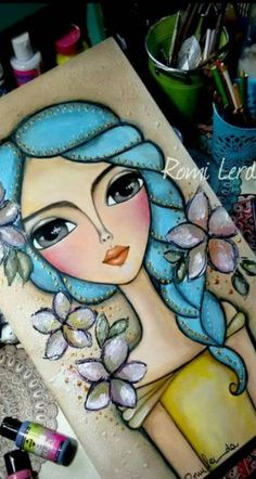 Ideas For Painting Face Girl Mixed Media Kunstjournal Inspiration, Art Journal Inspiration, Painting Inspiration, Mixed Media Faces, Mixed Media Art, Art Journal Pages, Art Journals, Whimsical Art, Face Art