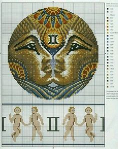 Zodiac Gemini Cross Stitch Pattern 2/3
