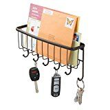 #4: mDesign Mail Letter Holder Key Rack Organizer for Entryway Kitchen  Wall Mount Bronze