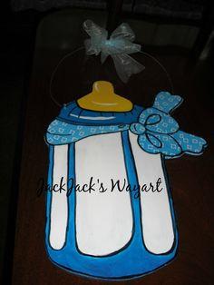 Baby announcement door hanger Newborn nursery by JackJacksWayart