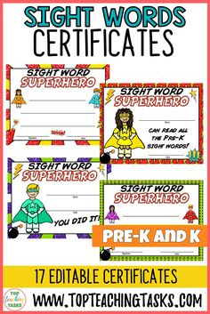 Pre-K and Kindergarten Sight Words Certificates EDITABLE USA. Celebrate your students' sight word success with our range of EDITABLE certificates. This pack features 17 SUPER Sight Word certificates. Either print and write on these certificates, or type into the editable text boxes before printing. Circle Time Activities, Sight Word Activities, Phonics Activities, Preschool Math, Kindergarten Classroom, Pre K Sight Words, Dolch Sight Words, Pre-k Resources, Teaching Resources