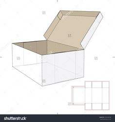 Box With Lid And Die-Cut Pattern Stock Vector Illustration 183428186 : Shutterstock