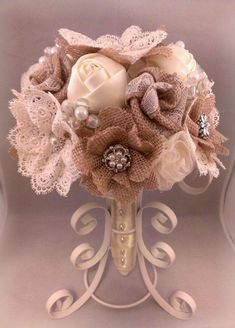 diy Burlap, Satin and Lace flowers decored Bouquet with Pearls - Tulle, Brooches Button, plastic holder