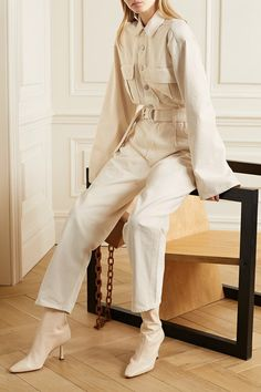 Cream denim Buttons and concealed zip fastening at front cotton Dry clean Designer color: Paper White Denim Jumpsuit, Fashion Advice, Fashion Outfits, Jumpsuit Outfit, Straight Leg Pants, Minimalist Fashion, Minimalist Style, Jumpsuits For Women, Playsuit