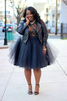 She looks amazing!   Plus size tulle skirt and leather Moro jacket