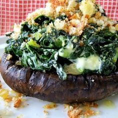 Grilled Portobello Mushrooms Stuffed with Kale and Goat Cheese