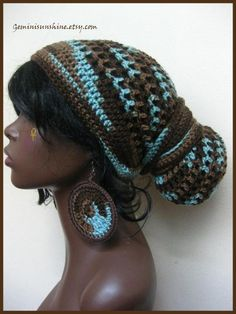 Earth and Sky Crochet Head wrap and Earrings by Geminisunshine, $45.00