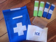 Felt First Aid Kit with Ice Pack, 4 bandages and felt medical wrap and carrying case - Pretend Doctor First Aid Kit - Felt bandages - Blue by TheUnlimitedStitch on Etsy https://www.etsy.com/listing/263722220/felt-first-aid-kit-with-ice-pack-4