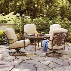 Cavasso 5-Piece Metal Patio Fire Pit Conversation Set with Oatmeal Cushions