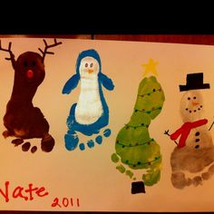 Christmas foot print art. Could add in a Santa :)