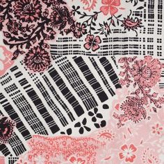 What a ravishing Oscar de la Renta floral silk fabric! Absolutely dazzling in the colors of flamingo pink, crystal rose, black, and marshmallow white, this fluid floral pattern takes up the entire width of this fabric. This material is woven as a twill but has the hand, drape, and luminescence of a crepe de chine. Remarkably light weight, use this material to make striking floor length dresses and charming blouses, or use it as a unique jacket lining.