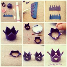 how to make a fondant crown Fondant Toppers, Fondant Cakes, Cupcake Cakes, Cupcake Toppers, Cake Topper Tutorial, Fondant Tutorial, Fondant Figures, Fondant Crown, Crown Cupcakes