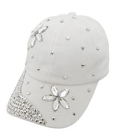 Look at this #zulilyfind! White Floral Rhinestone-Accent Baseball Cap #zulilyfinds