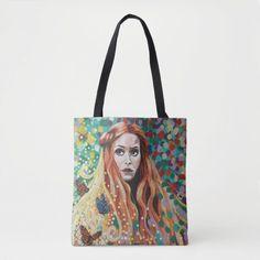 Bohemian Girl Painting Bag   Zazzle.co.uk Bohemian Girls, Painting Of Girl, Printed Tote Bags, Edge Design, Bag Sale, Reusable Tote Bags, Classic, Beautiful, Fashion