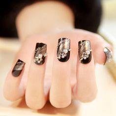 new 2014 fashion silver stripe black japanese 3d false nails,24 pcs,free shipping $8.19