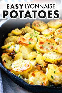 This French potato recipe is easier than it looks! Lyonnaise Potatoes is made with simple ingredients: Layers of sliced potatoes and onions are dotted with butter and baked to a perfect golden-brown in the oven. These roasted potatoes can serve double duty as a weeknight side dish or a holiday side perfect for feeding a crowd!