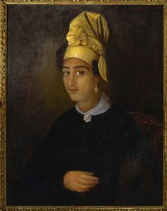 Info from the Historic New Orleans Collection:  This 1837 portrait by François (Franz) Fleischbein of his housekeeper Betsy, a free woman of color, is also on display in THNOC's Counting House. The sitter's elaborate headdress and delicate jewelry underscore her elevated social position in the painter's household.