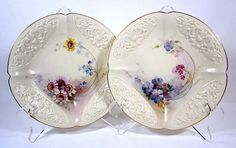 Royal Worcester Pair Floral Plates by W.Ricketts