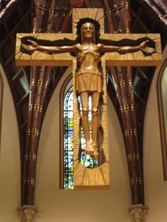 Wood Carving of Jesus Christ on Cross | 19 Carving at Holy Name Cathedral