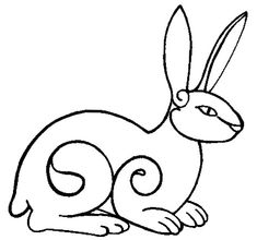 Lovely stylized rabbit from a web page dedicated to the totem animals of old Germanic cultures -- perfect for embroidery, if you ask me.