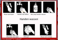 Dagritmekaart om alle stappen van het handen wassen te visualiseren