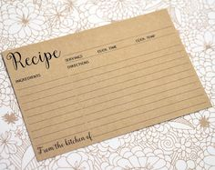 4x6 Recipe Cards printed with Kraft Brown background. The cards are printed on both sides, with the back featuring additional lines to write directions and notes. These recipe cards are perfect to give as favors, gifts or use in your own kitchen. 4x6 inch cards can be stored in most recipe books or boxes.  Card Size: 4 x 6 inches Card Stock: 110 lb heavy weight Double-Sided Printing   { QUANTITY }  Please use drop down box Number of Cards to select in increments of 6 cards. FRONT Printed…