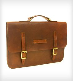 Classic Leather Briefcase | This classic leather briefcase will stylishly carry your lapto... | Suitcases