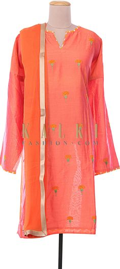 Buy Online from the link below. We ship worldwide (Free Shipping over US$100) http://www.kalkifashion.com/orange-silk-semi-stitched-suit-embellished-in-resham-embroidery-only-on-kalki.html