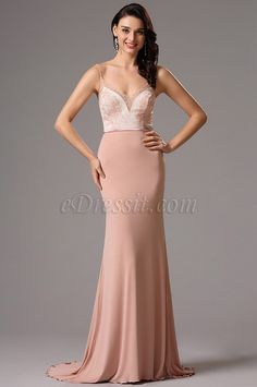 Spaghetti straps pink Prom Evening Dress Formal Gown with lace