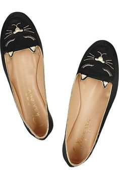 Charlotte Olympia | Cat Nap embroidered satin slippers | NET-A-PORTER.COM