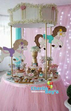 Carousel Birthday Parties, Carousel Party, Circus Birthday, Unicorn Birthday Parties, Baby Birthday, First Birthday Parties, Birthday Party Decorations, Carnival Baby Showers, Baby Shower Parties
