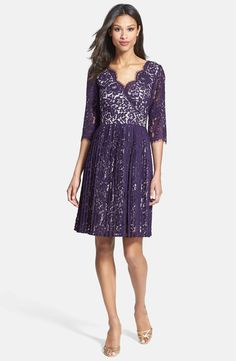 Main Image - Eliza J Pleated Lace Fit & Flare Dress