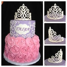 Princess Cake with Tiara - I tweaked a template from Cake Central for the tiara. My first stacked layer cake. I'm happy with how the piping in the top layer goes well with the tiara. (It just needed to be a bit smoother.) I would also make the rosettes on the bottom tier smaller.