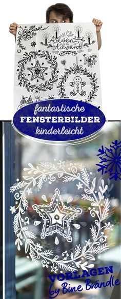 Bine Brändle templates for fantastic window pictures. So is painting on the … – Crafts For Christmas - Malen Chalk Pens, Chalk Markers, Christmas Crafts, Christmas Decorations, Window Art, Easy Paintings, Painting Pictures, Chalkboard Art, Diy For Kids