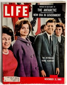 "Front cover of Life magazine dated November ""The Victorious Young Kennedys."" Featuring president-elect John F. Kennedy and a pregnant Jacqueline Kennedy in a purple coat. This is when we realized we had voting power Life Magazine, Magazine Rack, John Kennedy, Old Magazines, Vintage Magazines, Vintage Photos, Familia Kennedy, Victorious, John Junior"