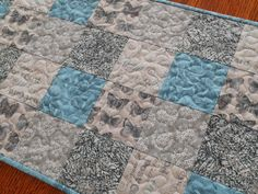 Quilted Table Runner with Butterflies in Aqua and by susiquilts