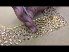 making of heavy KUNDAN work Blouse with JARDOSI kundan work stone work jardosi work gold maggam work blouse hand embroidery aariwork Hand Embroidery Dress, Aari Embroidery, Embroidery Neck Designs, Hand Embroidery Videos, Embroidery Works, Couture Embroidery, Hand Embroidery Stitches, Bead Embroidery Tutorial, Embroidery Blouses