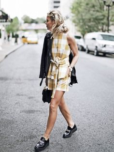 Add some edge to Gingham prints with black accessories