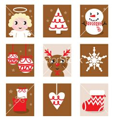 Christmas characters icons vector 688321 - by lordalea on VectorStock�