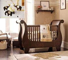 Brown elephant nursery room I love elephants and I love the neutral colors! Baby Bedroom, Baby Boy Rooms, Baby Boy Nurseries, Baby Room Decor, Baby Cribs, Baby Bedding, Baby Elephant Nursery, Nursery Crib, Elephant Theme