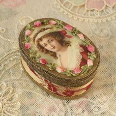 RESERVED FOR ROSE French Powder Box Antique Pink Ribbon Work, Silk, Metallic Trim