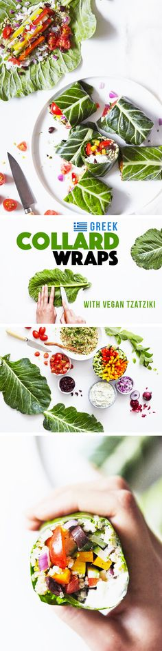 A lemon-herb quinoa, crisp veggies, and a creamy vegan tzatziki. Collard greens will stay crisp in the fridge, so you'll have dinner and tomorrow's lunch covered! Vegan & Gluten Free.