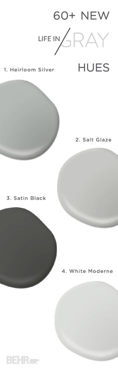 Stay on top of this season's latest home decor trend with these new Life in Gray hues from BEHR. With nearly 200 stunning hues, the collection is sure to include the perfect shade for you—from cool dark hues to warm mid-tones. This paint combination of Heirloom Silver, Salt Glaze, Satin Black, and White Moderne is sure to add some elegance and glamour to your space.