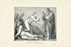 1896 Engraving of Michelangelo's Creation of Eve found in Schools and Masters of Painting from an Ephemera Grab Bag on Artists and their Work.