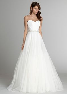 Bridal Gowns, Wedding Dresses by Alvina Valenta - Style AV9554 - Front View with S554 overskirt & B554 belt - Fall 2015 Collection