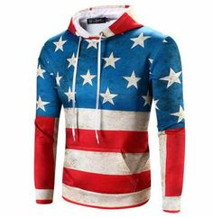 3D American flag hoodie for men star striped pullover xxxl