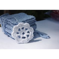 Blue Baby Boy Washcloths Cotton Crochet ($15) ❤ liked on Polyvore featuring integritytt and etsyspecialt